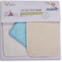 Les Tendances d Emma - Kit Eco-Test bébé 1 carré bébé, 1 gant de change, 1 débarbouille