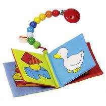 Heimess - Livre d'image (couineur et grelot) avec chaîne pour bébé