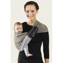 Je porte mon bébé - Baby-Tragetuch ohne Knoten - reversibel - olivgrün-grau