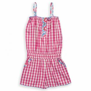 Kite Kids - Combi-short à carreaux roses et blancs, coton bio