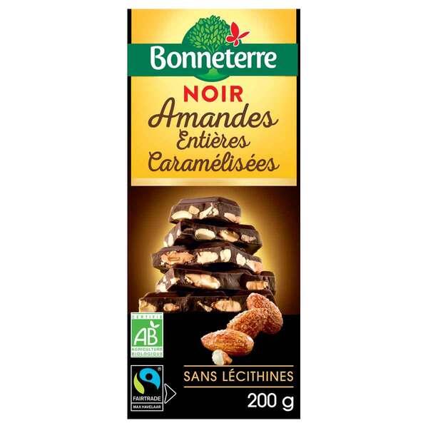 Bonneterre - Tablette chocolat noir aux amandes entières caramélisées 200g