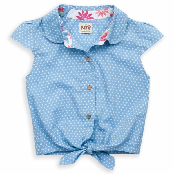 Kite Kids - Chemisier noué, coloris bleu à pois blanc, coton bio
