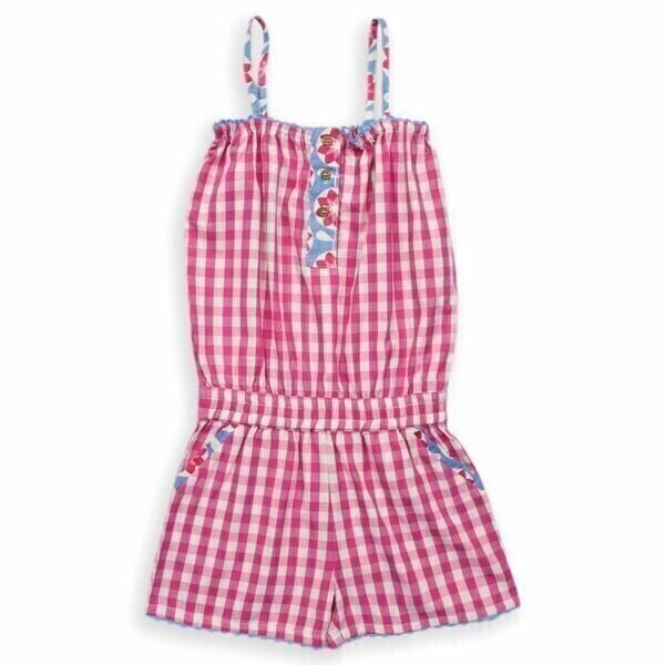 Kite Kids - Combi-short à carreaux roses et blancs, coton bio