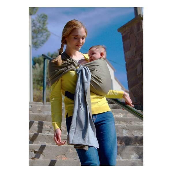 Love Radius - Petite écharpe de portage sans noeud réversible chiné/olive