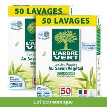 L'Arbre Vert - Lot de 2 Lessives poudre au savon végétal 2.5kg