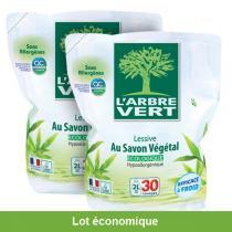 L'Arbre Vert - Lot de 2 Recharges Lessive Savon Végétal 2L