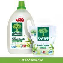 L'Arbre Vert - Pack Recharge Lessive Savon Végétal 2L et sa recharge de 2L