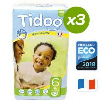 Tidoo - Lot 3 paquets 38 Couches jetables Tidoo T6 XL 16-30kg