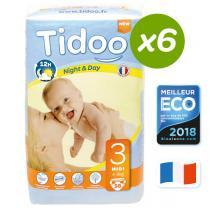 Tidoo - Lot 6 paquets 56 Couches jetables Tidoo T3 Midi 4-9kg