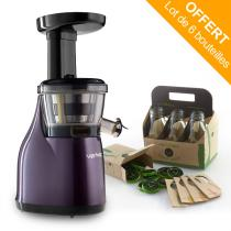 Versapers - Emotion 3G Slow Juicer Aubergine, 6-Pack Glass Bottles included