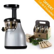 Versapers - Emotion 3G Slow Juicer Titanium, 6-Pack Glass Bottles included