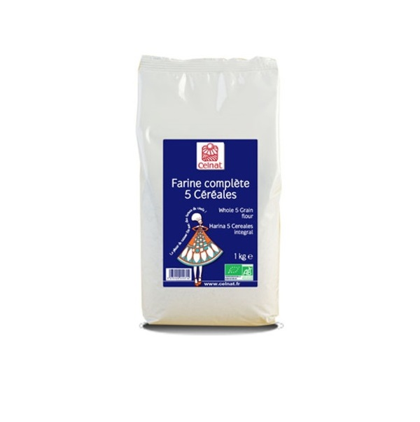 Celnat - Farine complète 5 céréles bio 1kg