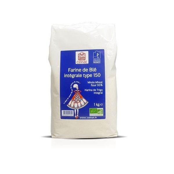 Celnat - Farine de blé intégrale T150 bio - 1kg
