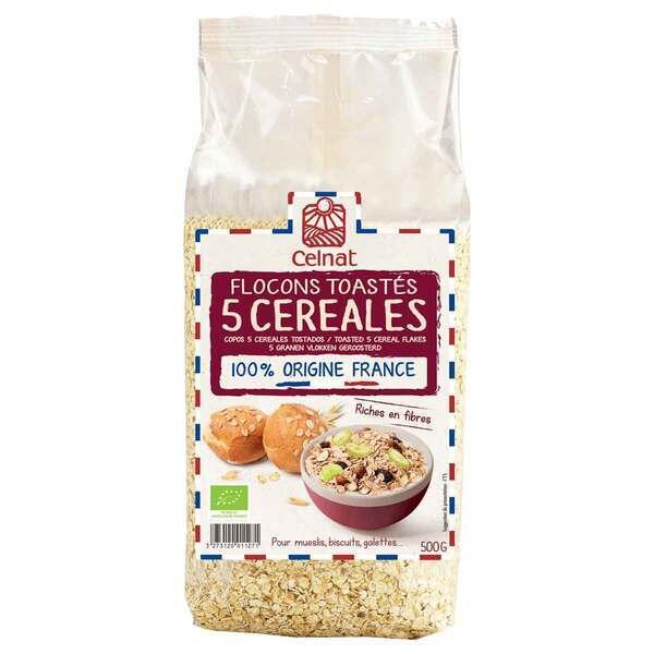 Celnat - Flocons 5 céréales toastés bio - 500g