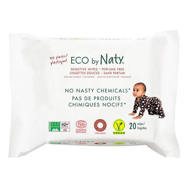 Eco by Naty - 20 Lingettes douces Eco - Sans parfum - Format voyage