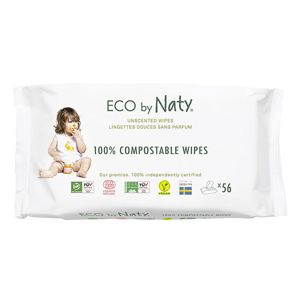 Eco by Naty - 56 Lingettes douces Eco - Sans parfum