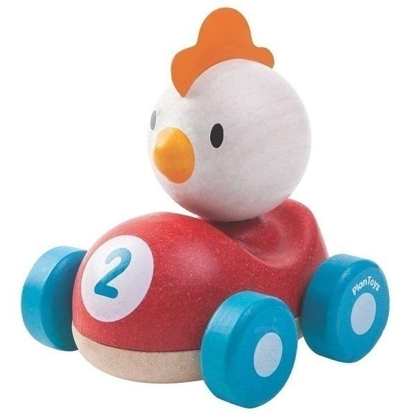 Plan Toys - Piou le coq de course en bois - Dès 12 mois