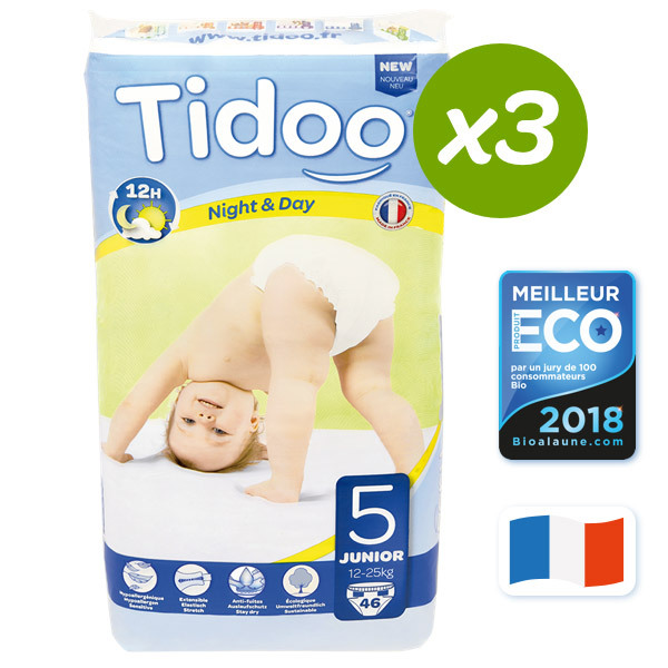 Tidoo - Lot 3 paquets 46 Couches jetables Tidoo T5 Junior 12-25kg