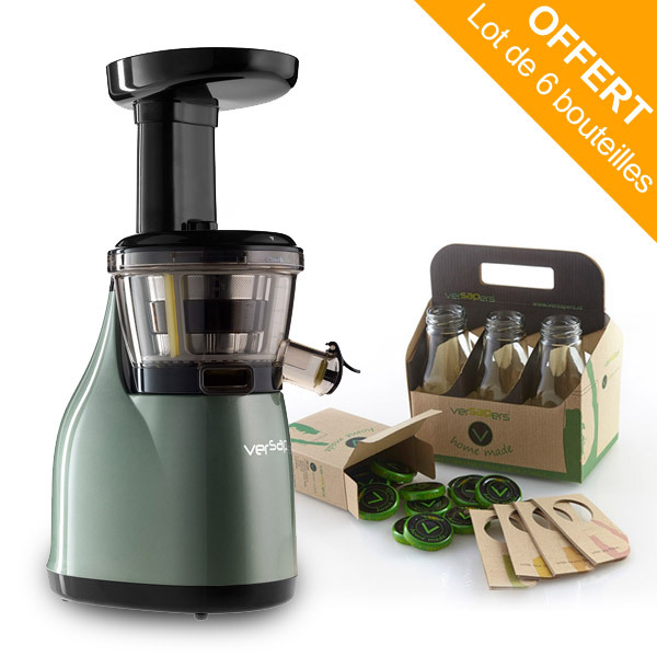 Slow Juicer Versapers : Emotion 3G Slow Juicer Sea Green, 6-Pack Glass Bottles included versapers Shop online at ...