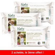 Nature Babycare - 2 paquetes de 56 Toallitas Eco ligeramente perfumadas + 1 gratis