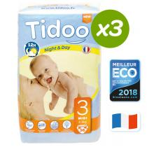 Tidoo - 3x56 Couches Ecologiques MIDI T3 4-9kg