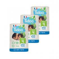 Tidoo - Pack 3x50 Couches T4 7-18kg Hypoallergéniques Nature