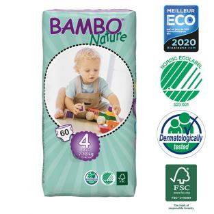 Bambo Nature - 4 Packs of 60 Disposable Nappies Size 4 Maxi 7-18kg