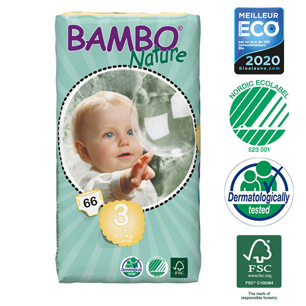 Bambo Nature - 4 Packs of 66 Disposable Nappies Size 3 Midi 5-9kg