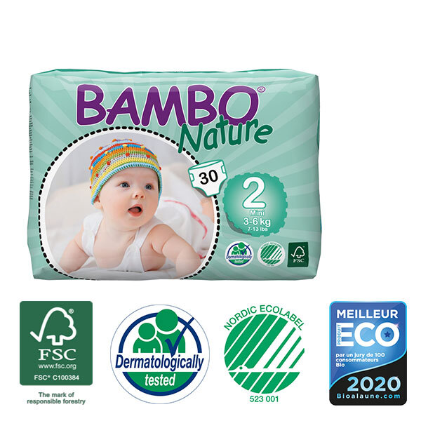 Bambo Nature - 8 Packs of 30 Disposable Nappies Size 2 Mini 3-6kg