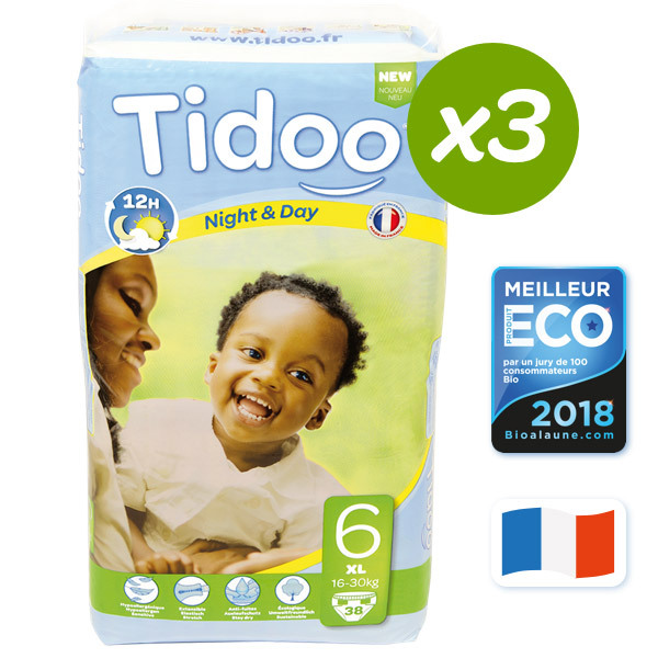 Tidoo - 3x38 Pañales Ecológicos XL 16-30kg