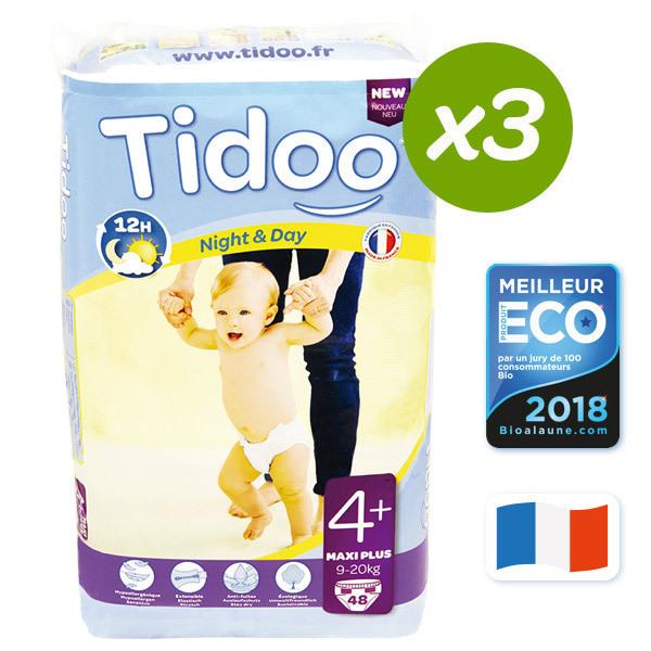 Tidoo - 3x48 Pañales Ecológicos MAXI+ T4+ 9-20kg