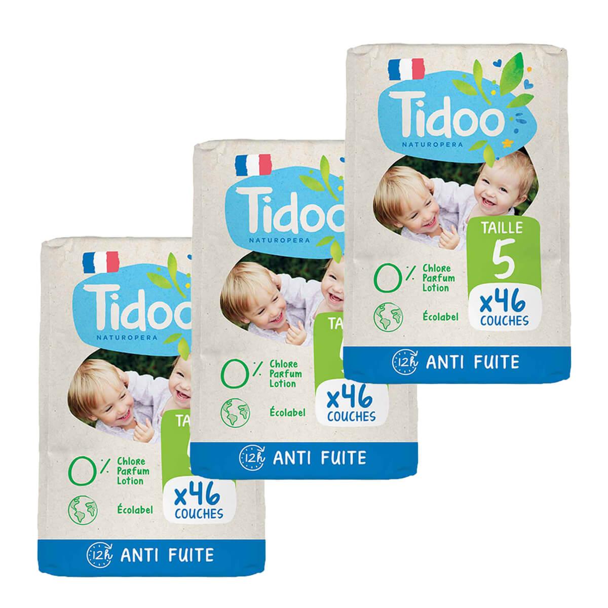 Tidoo - Pack 3x46 Couches T5 12-25kg Hypoallergéniques Nature
