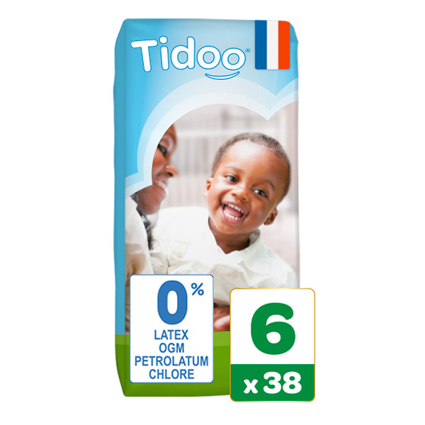 Tidoo - Pack 6x38 Couches T6 16-30kg Hypoallergéniques Nature