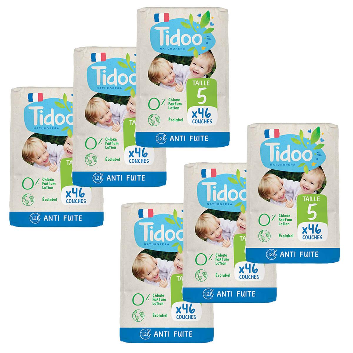 Tidoo - Pack 6x46 Couches T5 12-25kg Hypoallergéniques Nature