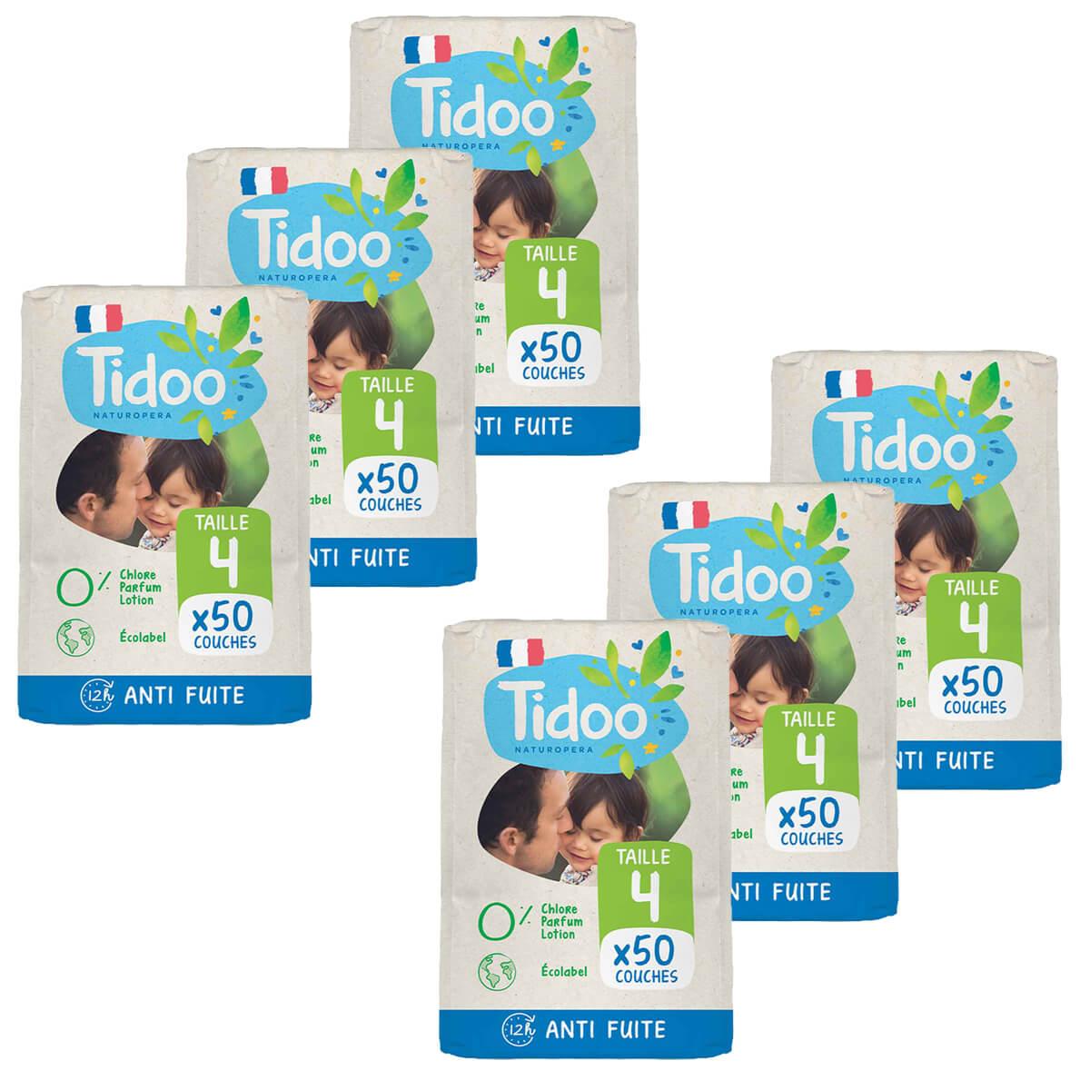 Tidoo - Pack 6x50 Couches T4 7-18kg Hypoallergéniques Nature