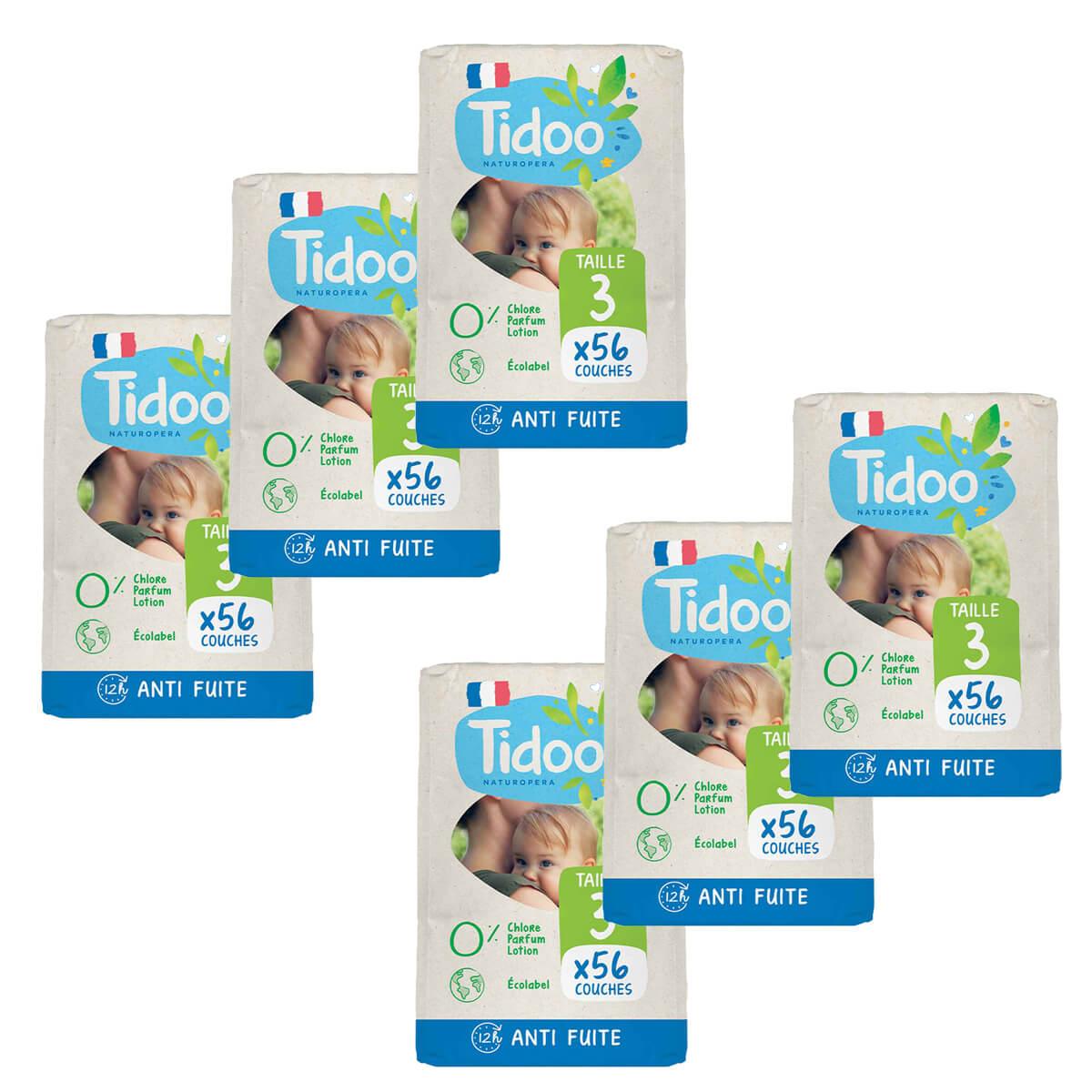 Tidoo - Pack 6x56 Couches T3 4-9kg Hypoallergéniques Nature