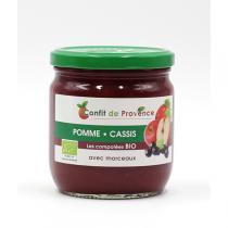 Confit de Provence - Compote Pomme Cassis avec Morceaux BIO 430g