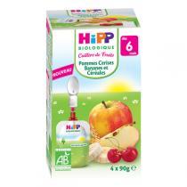 Hipp - Gourde Pommes Cerises Bananes et Céréales - 4x90g