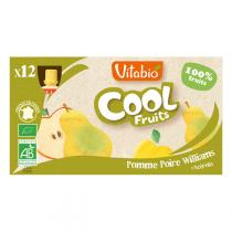 Vitabio - Lot de 12 Compotes Cool Fruits Pomme Poire Williams BIO - 12x90g