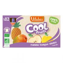 Vitabio - Lot de 12 Compotes Cool Fruits Pomme Mangue Ananas - 12x90g