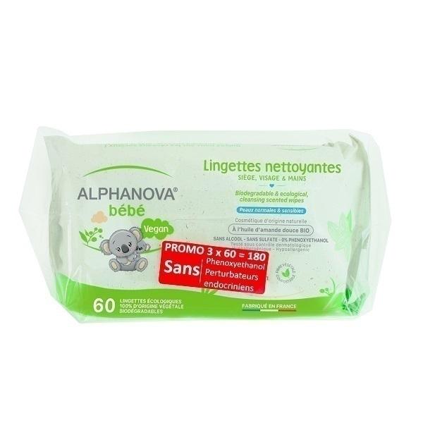 Alphanova - Lot 3 paquets de 60 lingettes biodégradables