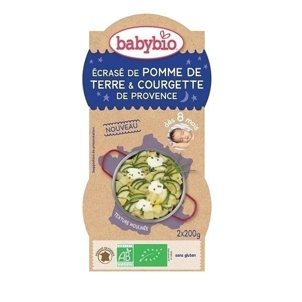 Babybio - Bols Bonne Nuit Ecrasé PdTerre Courgette - 2 x 200g