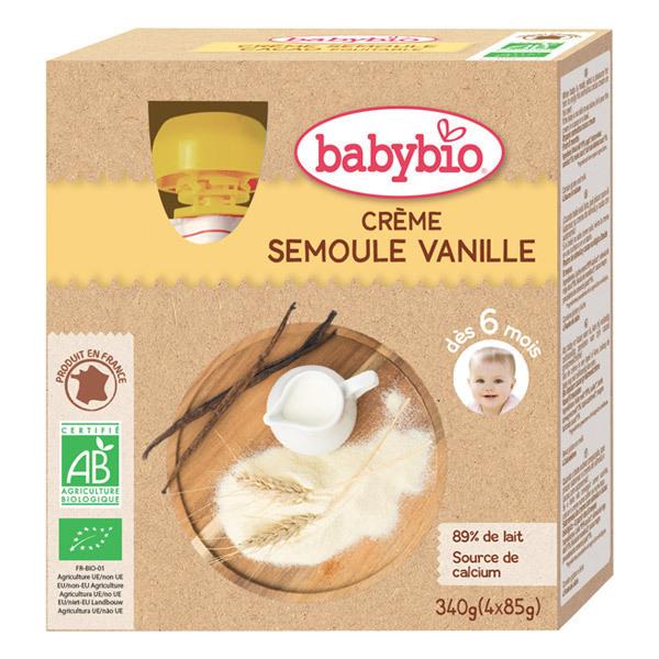 Babybio - Gourde Crème Semoule Vanille - 4 x 85g