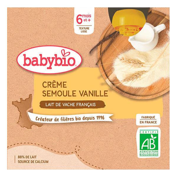 Babybio - Gourde Crème Semoule Vanille - 4 x 90g