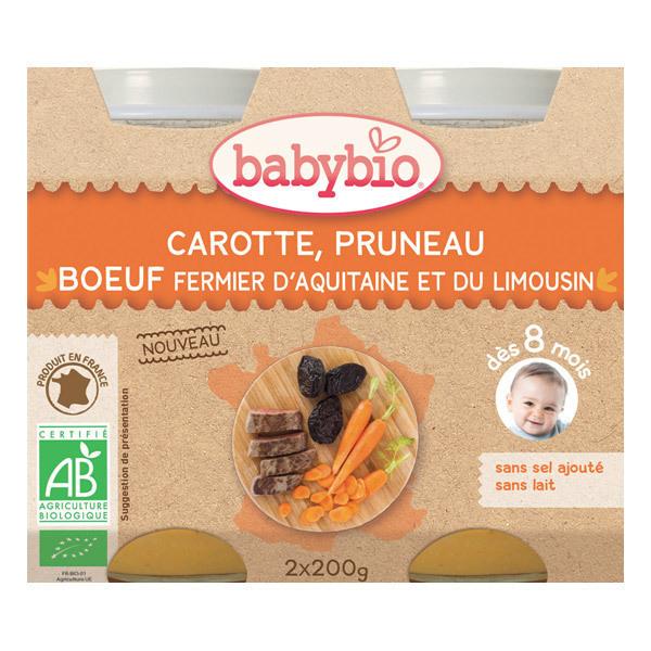 Babybio - Petits pots Carotte Pruneau Boeuf fermier - 2 x 200g