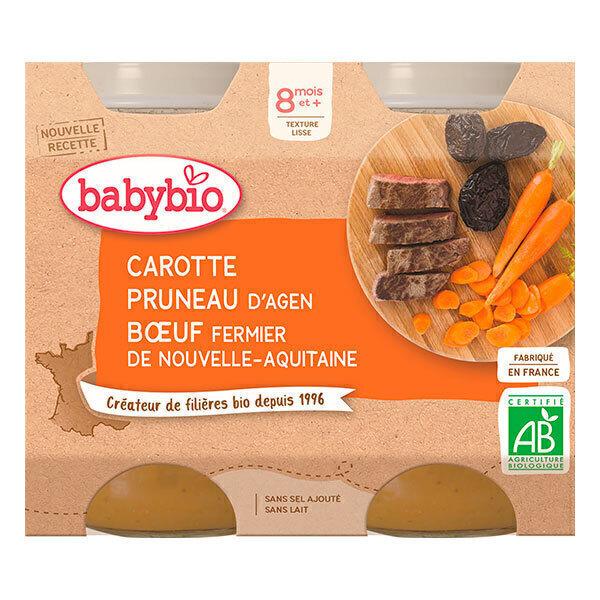 Babybio - Petits pots carotte pruneau boeuf fermier - 2x200g