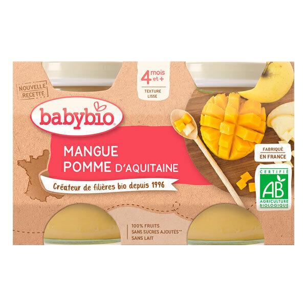 Babybio - Petits pots mangue et pomme d'Aquitaine 2 x 130g - Dès 4 mois