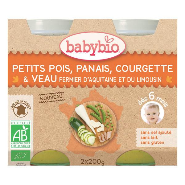 Babybio - Petits pots Petits pois Panais Courgette Veau - 2 x 200g