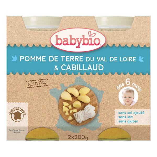 Babybio - Petits pots Pomme de Terre Cabillaud sauvage - 2 x 200g