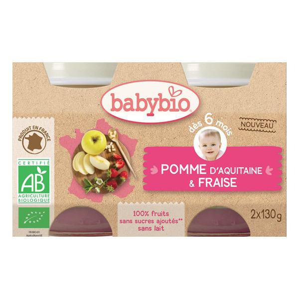 Babybio - Petits pots Pomme Fraise - 2 x 130g